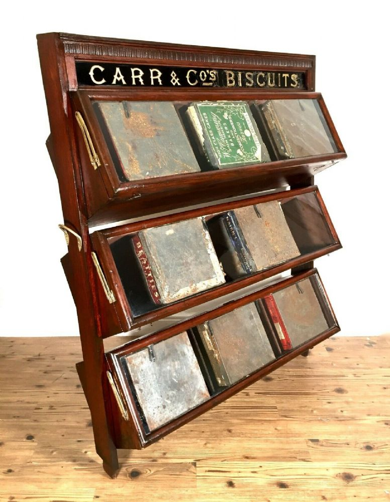 Antique Carr & Co Biscuit Mahogany & Glazed Shop Display Stand / Cabinet & Tins